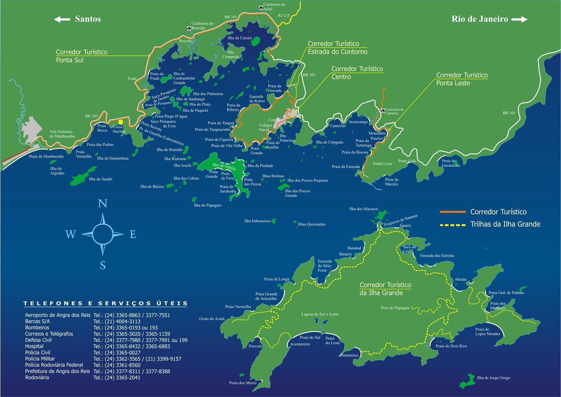 Mapa de Angra dos Reis e Ilha Grande RJ