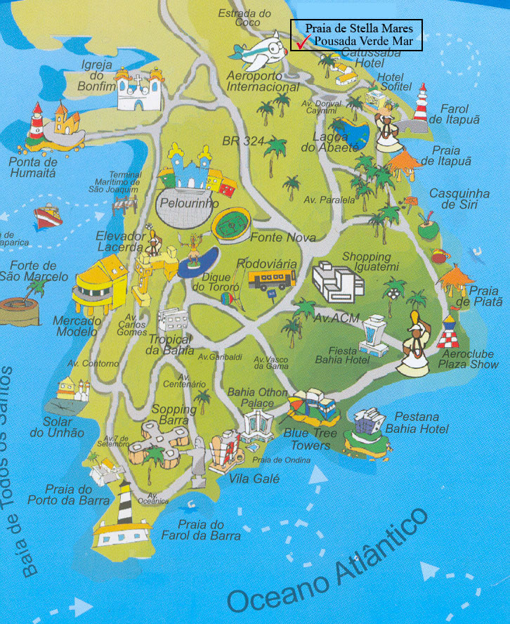 Map of Salvador Beaches Bahia