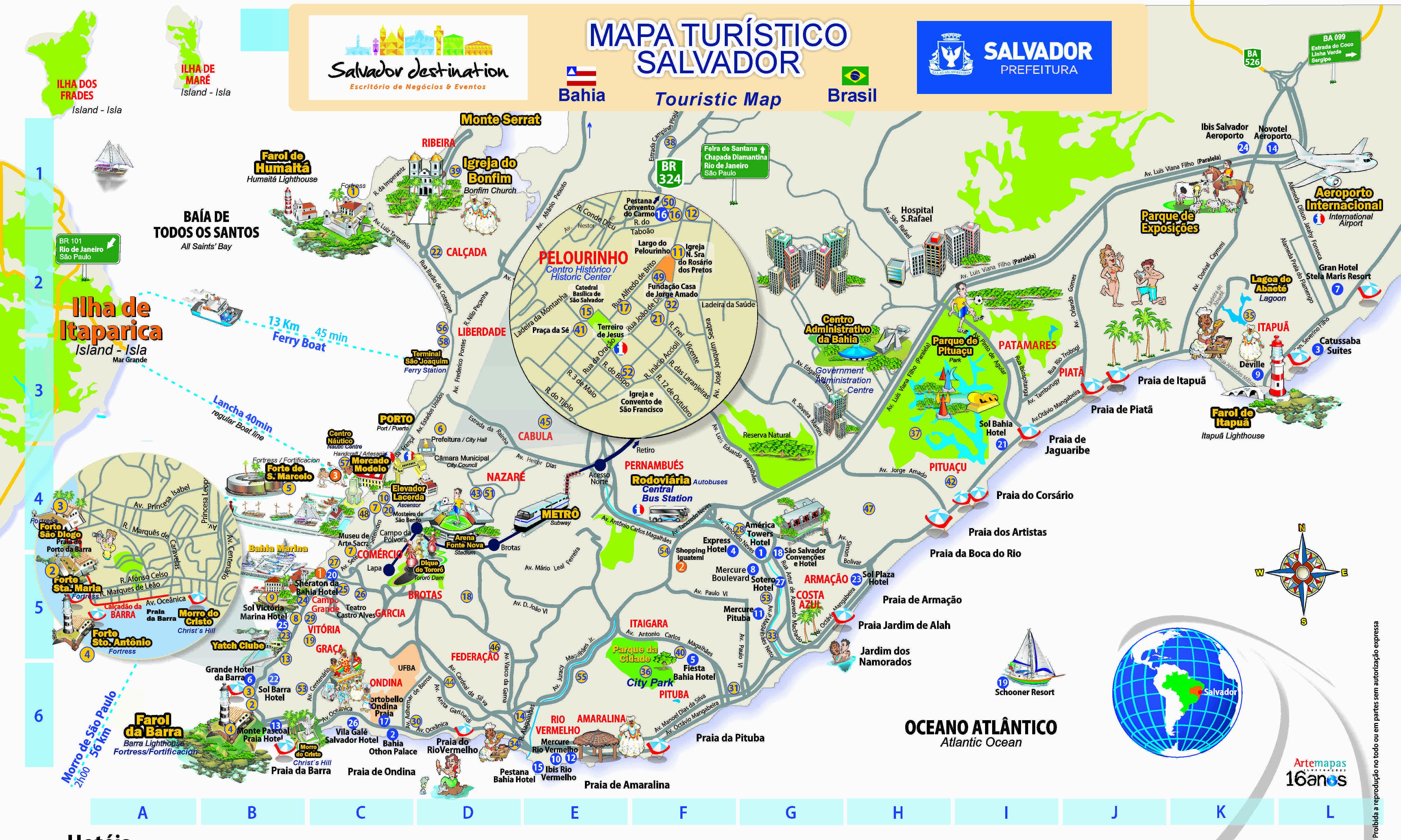 Mapa De Localização De Pontos De Vetor Localização De: Mapa Dos Pontos Turísticos De Salvador Da Bahia