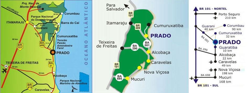 mapa de Prado na Bahia