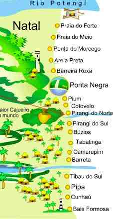 mapa litoral sul do RN