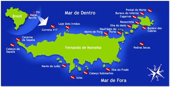 mapa de mergulho de Fernando de Noronha