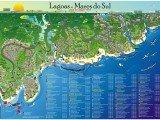 Mapa da região das Lagoas e Mares do Sul de Alagoas