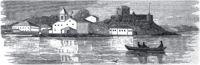 A Igreja de Monte Serrat em ilustração publicada, em 1866, no livro Brazil and The Brazilians, de J.C. Fletcher e D.P. Kidder.