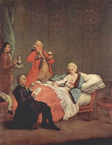 The morning chocolate. Pietro Longhi, 1775–1780. O açúcar passou a ser importante para adoçar o chocolate, o chá, o café e na própria preparação dos doces consumidos pelas elites.
