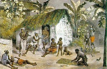 Habitação de negros. Rugendas, 1822-1825. Em algumas fazendas podíamos encontrar escravos com casa própria, embora fossem residências medíocres.