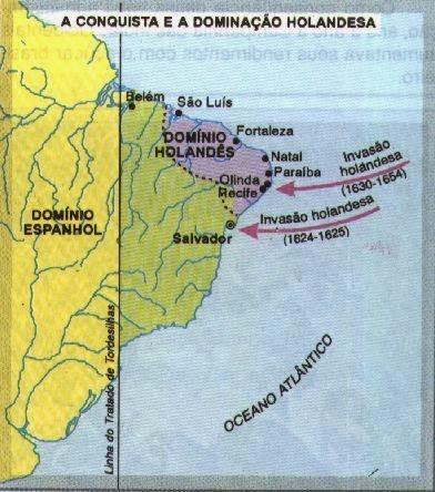 Em roxo o Domínio holandês ou a Nova Holanda. Por 24 anos os holandeses controlaram a produção açucareira de seis capitanias brasileiras, sendo Pernambuco o maior produtor da colônia.