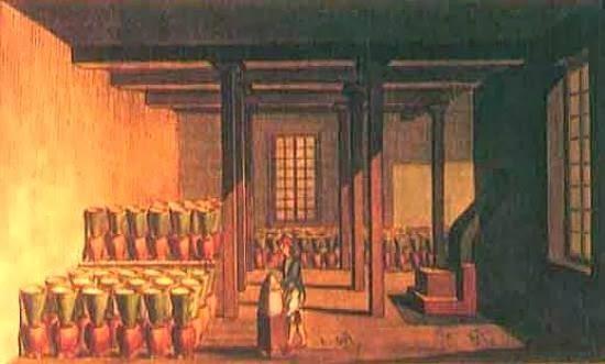 Pintura do interior de uma casa de purgar na ilha da Madeira.