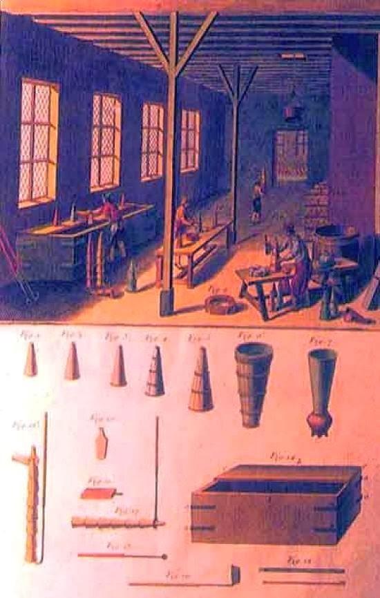 Pintura de um balcão de mascavar em uma casa de purgar na ilha da Madeira.