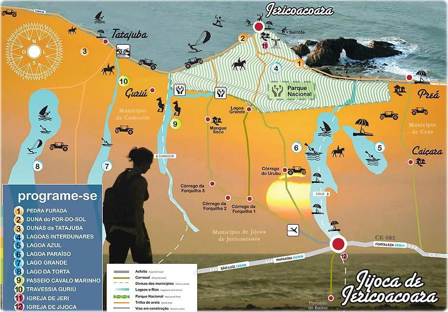 Mapa Turístico de Jericoacoara no Ceará