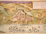 """""""Planta da restituição da Bahia"""" (João Teixeira Albernaz, o velho, 1631): em primeiro plano a Armada Espanhola."""