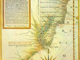 Mapa de Luís Teixeira (c. 1574) com a divisão da América portuguesa em capitanias. A linha de Tordesilhas está deslocada dez graus mais a oeste.