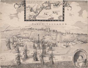 História da Bahia - Ocupação Holandesa na Bahia em 1624 - Desenho de Hassel Gerritsz sobre a Baía de Todos os Santos durante a invasão holandesa