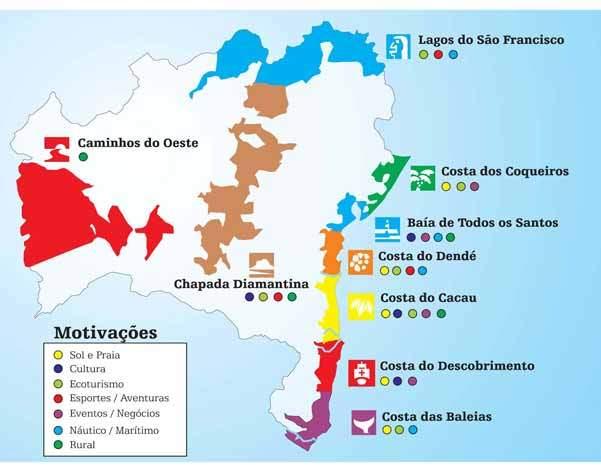 Mapa das Regiões Turísticas da Bahia