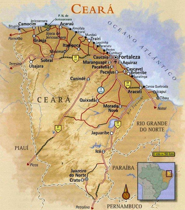 Mapa de Turismo do Ceará