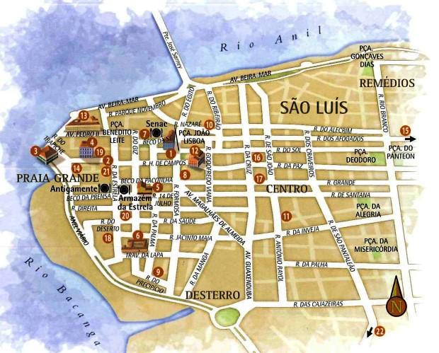 mapa centro de São Luís do Maranhão