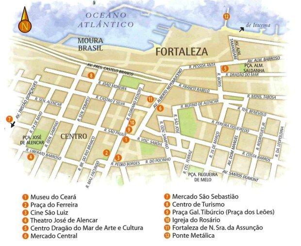 Mapa Turístico de Fortaleza no Ceará