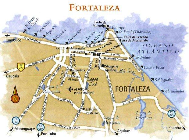 Mapa das praias de Fortaleza no Ceará