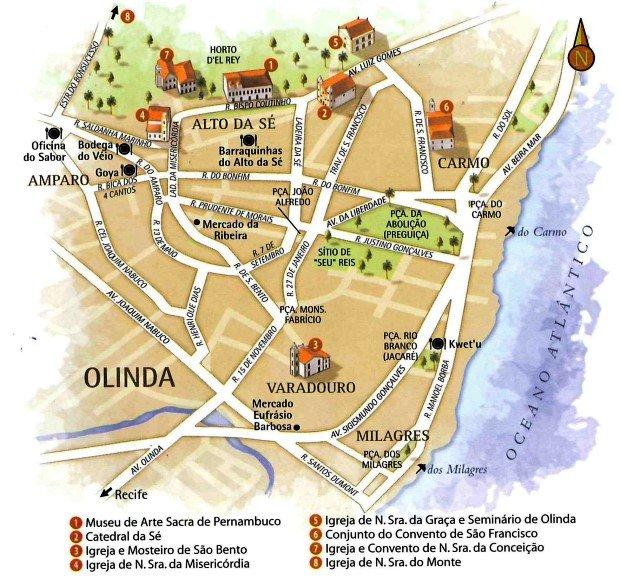 Mapa centro histórico de Olinda PB