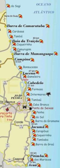 Mapa das Praias do litoral Paraíba