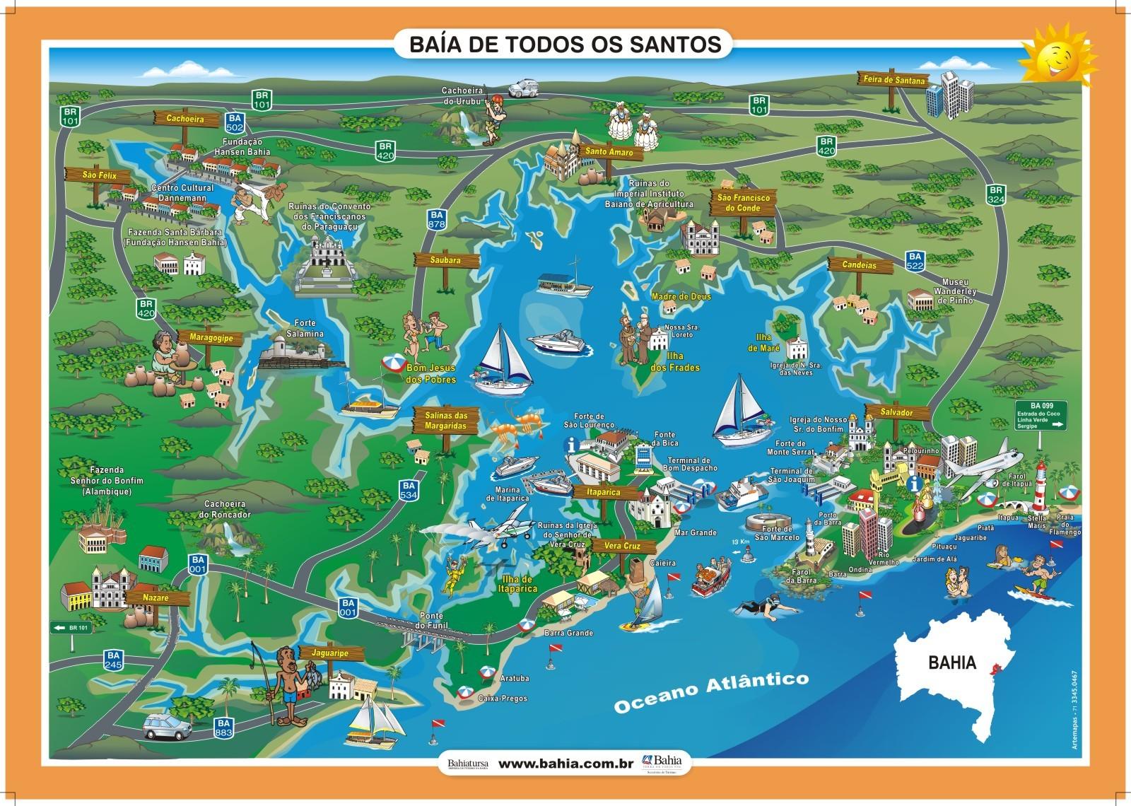 Mapa Turistíco da Baía de Todos os Santos
