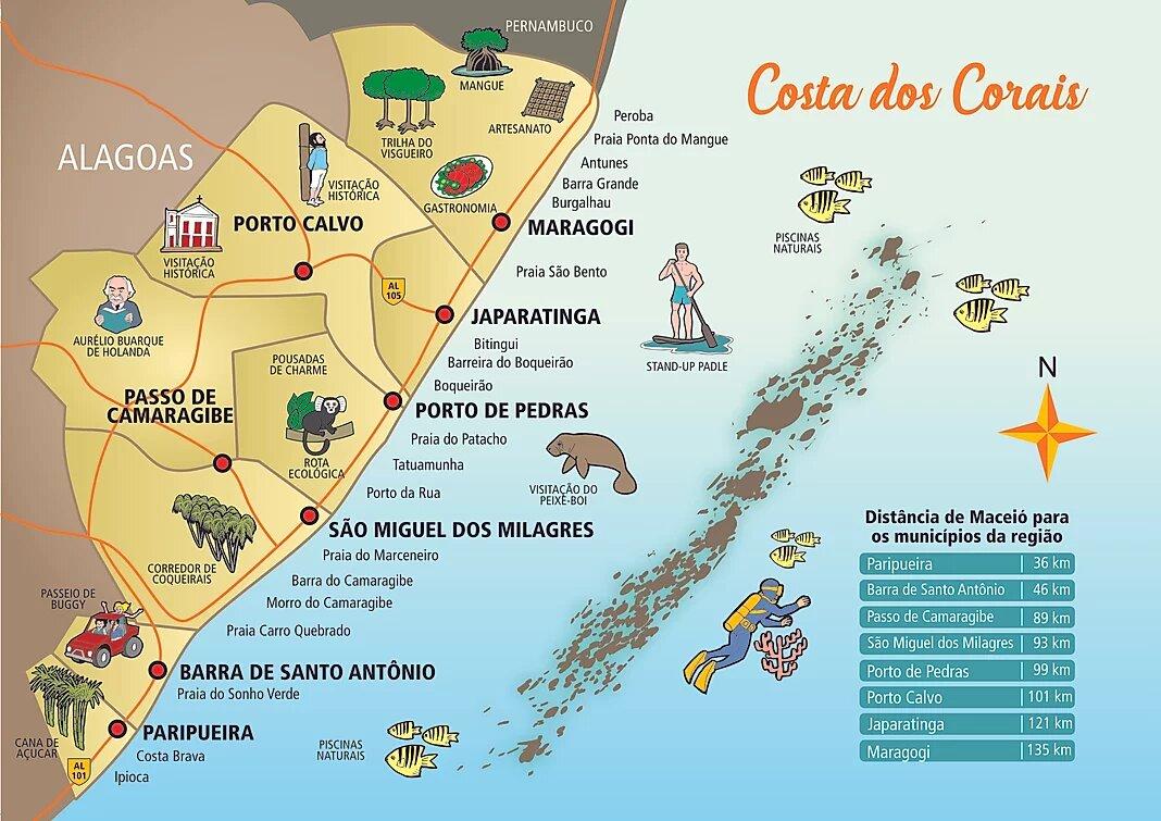 mapa da Costa dos Corais em Alagoas