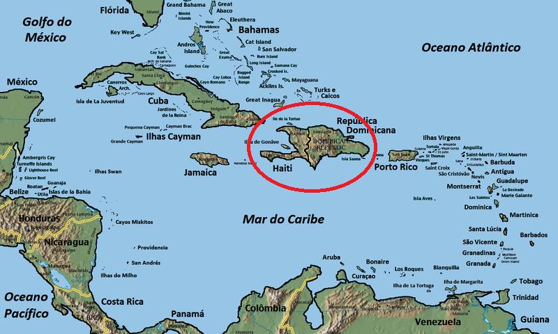 Em destaque a ilha de São Domingos antiga Hispaniola. A ilha é dividida pelos territórios do Haiti e da República Dominicana. Foi aqui em 1493 que se plantou o primeiro canavial das Américas.