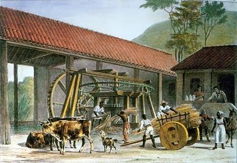 Moinho de cana de açúcar em Minas Gerais. Rugendas, 1835.