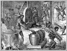 Interior de um engenho de açúcar. Aqui nota-se escravos movendo a moenda no fundo da imagem; a esquerda pode se ver um tacho fervendo o caldo-de-cana, e um escravo depositando o melaço em recipientes de barro.