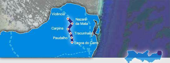 Mapa rota dos engenhos e maracatus em Pernambuco