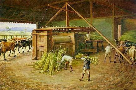 Moagem na Fazenda Cachoeira. Benedito Calixto, 1830.