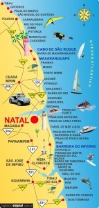 Mapa das praias do litoral RN