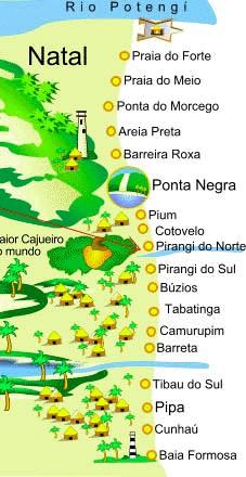 mapa litoral sul RN
