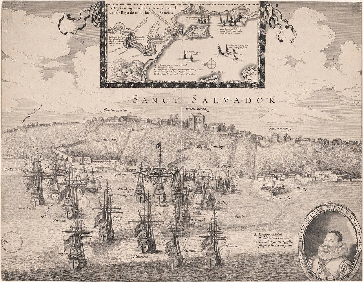 Desenho de Hassel Gerritsz sobre a Baía de Todos os Santos durante a invasão holandesa