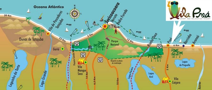 Mapa de Jericoacoara e de Tatajuba a Aranau