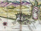 Carta do Atlas de João Teixeira Albernaz, de 1640, com parte do litoral maranhense da época. Indica-se a antiga estrutura da Cidade de São Luís
