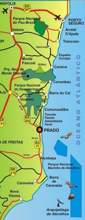 Barra do Cahy - mapa do litoral de Prado - Bahia